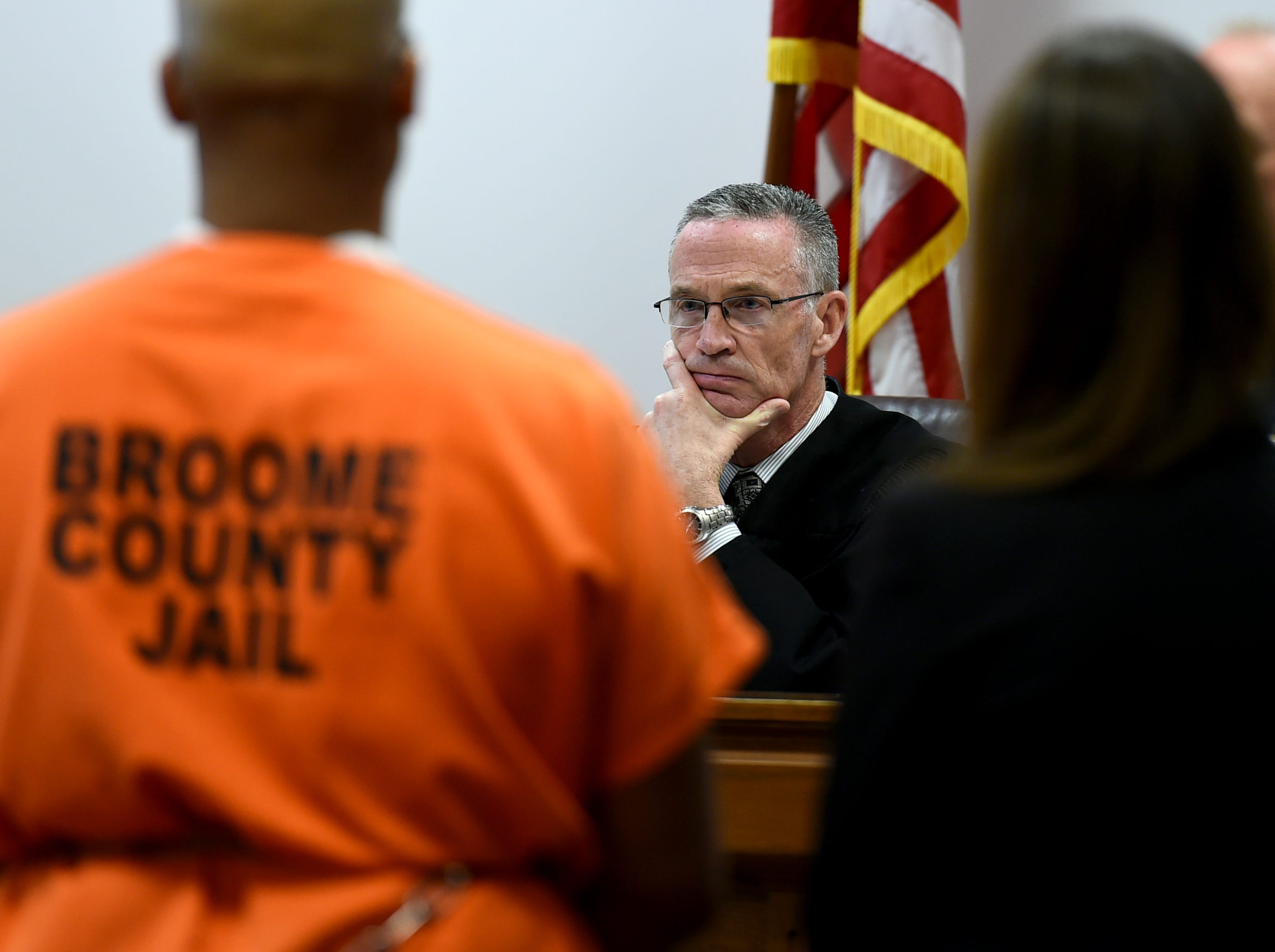 Judge Joseph Cawley listens Friday during the sentencing of Aaron Powell for the 2013 murders of Mario Masciarelli and Christina Powell.