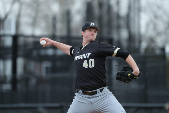 Bryant College senior Nate Wrighter (Windsor) has a 1.17 ERA through four appearances this season.