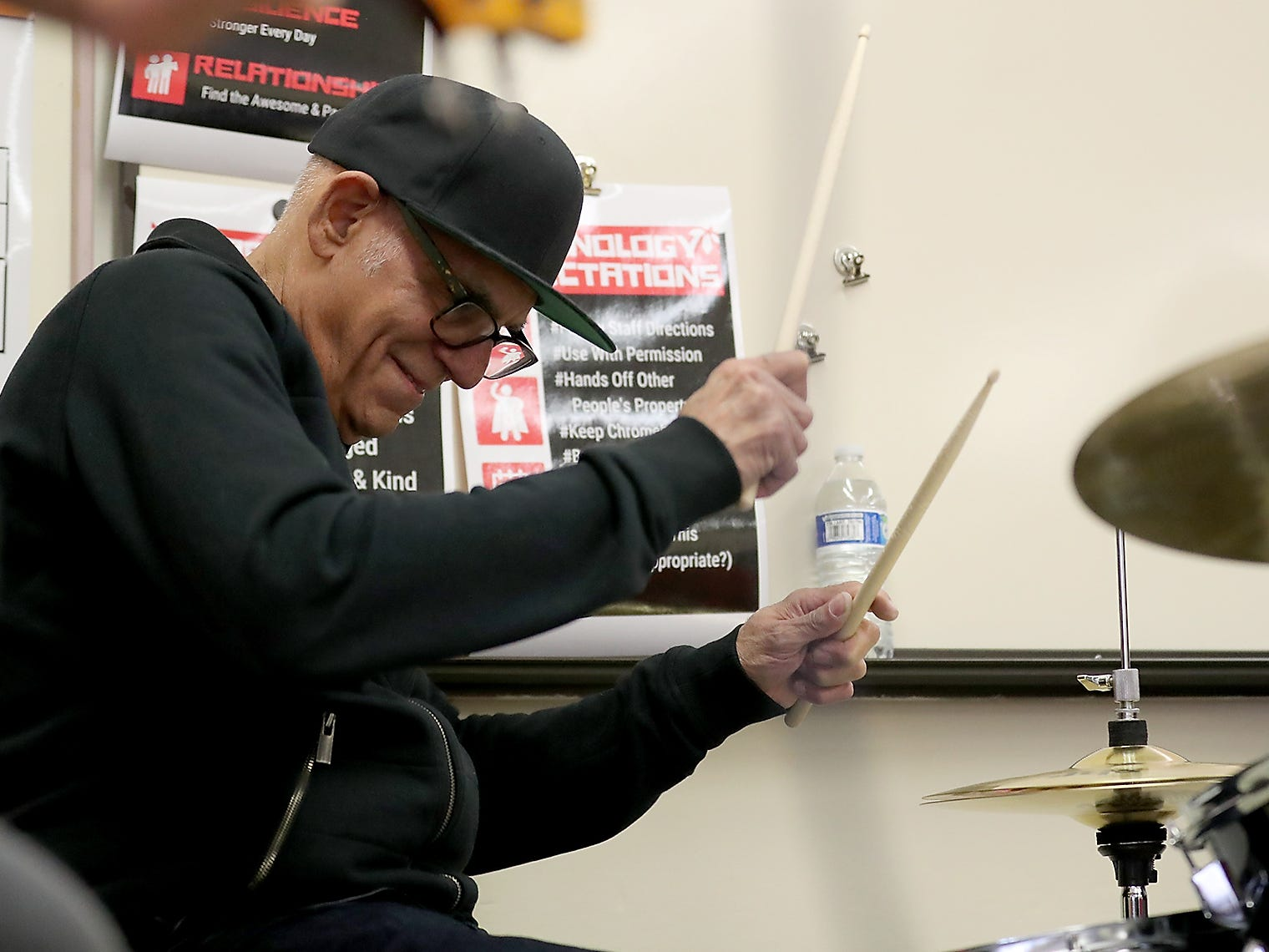 The Lords of 52nd Street drummer Liberty DeVitto performs during a visit to Ridgetop Middle School in Silverdale on Friday, March 8, 2019.