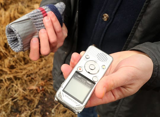 Jon Mooallem uses a simple audio recorder that he carries in a repurposed wool sock to record his walking podcasts.