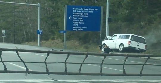 A screenshot of a video taken by an eyewitness of an incident near the Bangor Trident gate.