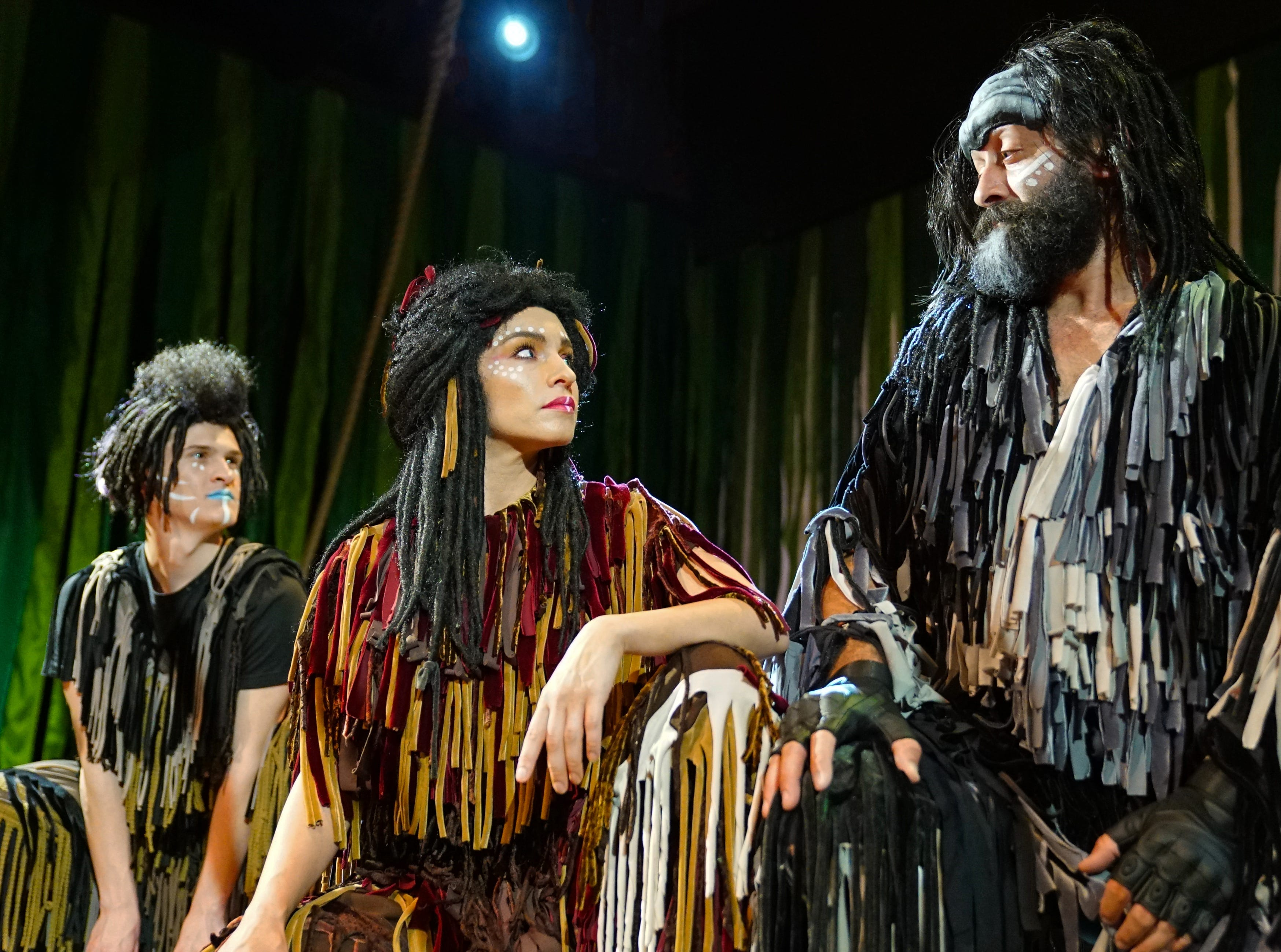 """Eric Barnum, left, plays """"Young Terk,"""" Josh Doyle plays """"Kerchek"""" and Mahalia Gronigan plays """"Kala"""" in """"Tarzan,"""" the stage musical based on the Disney film on stage at the Henegar Center in Melbourne through March 24th. For tickets or more information, visit henegar.org"""