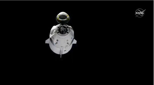 SpaceX's first Crew Dragon as it backed away from the International Space Station early Friday, March 8, to start its return to Earth on the Demo-1 mission for NASA's Commercial Crew Program.
