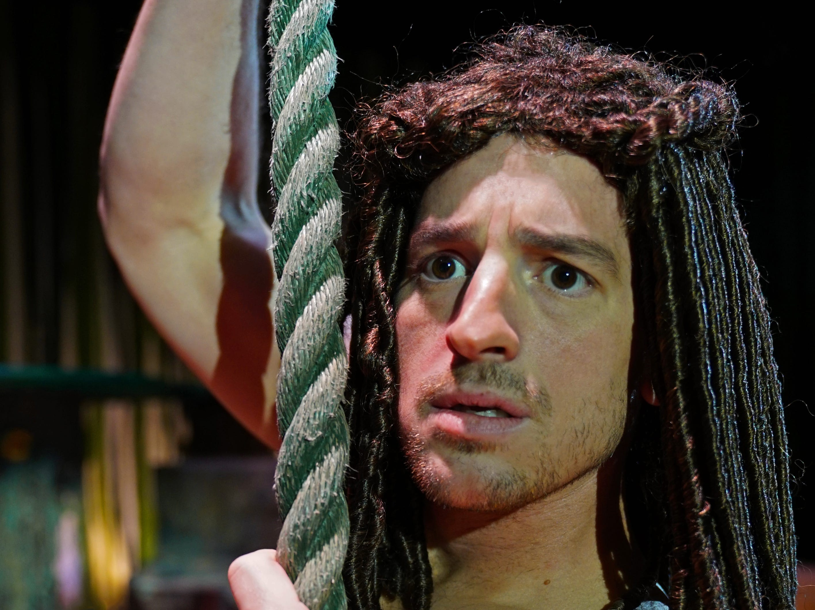 """Joe Horton swings onto the stage in the title role in """"Tarzan,"""" the stage musical based on the Disney film on stage at the Henegar Center in Melbourne through March 24th. For tickets or more information, visit henegar.org"""