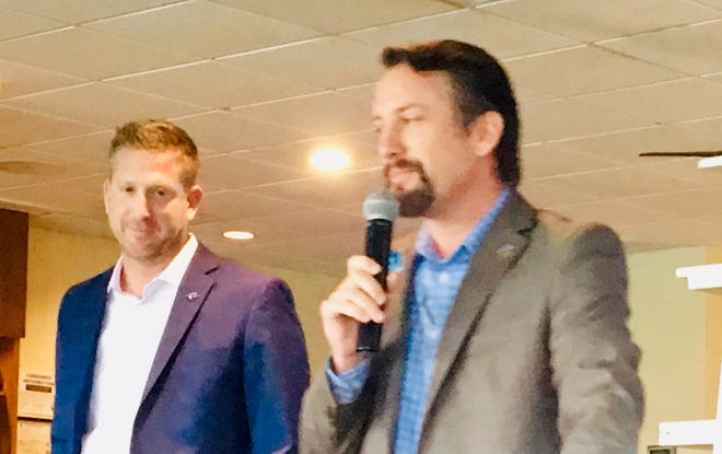Port Canaveral officials Micah Loyd and Bill Crowe discuss the port's future projects, speaking Tuesday to members of the maritime-focused Propeller Club of Port Canaveral.
