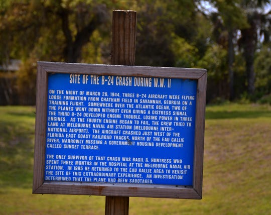 The historical marker commemorating the B-24 bomber crash is near Fire Station 71 on Eau Gallie Boulevard.