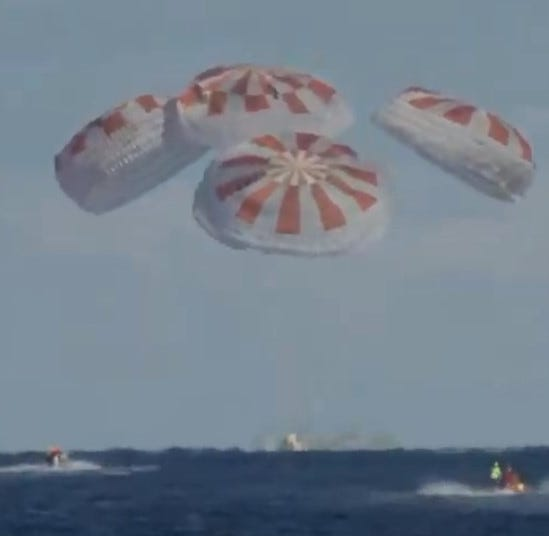 SpaceX Crew Dragon splashes down in Atlantic Ocean to complete successful test flight