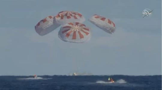 SpaceX's Crew Dragon splashed down in the Atlantic Ocean at 8:45 a.m. Friday, March 8, to conclude a successful six-day trip to the International Space Station on the Demo-1 mission for NASA's Commercial Crew Program.