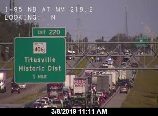 A crash on I-95 through Titusville is blocking lanes.
