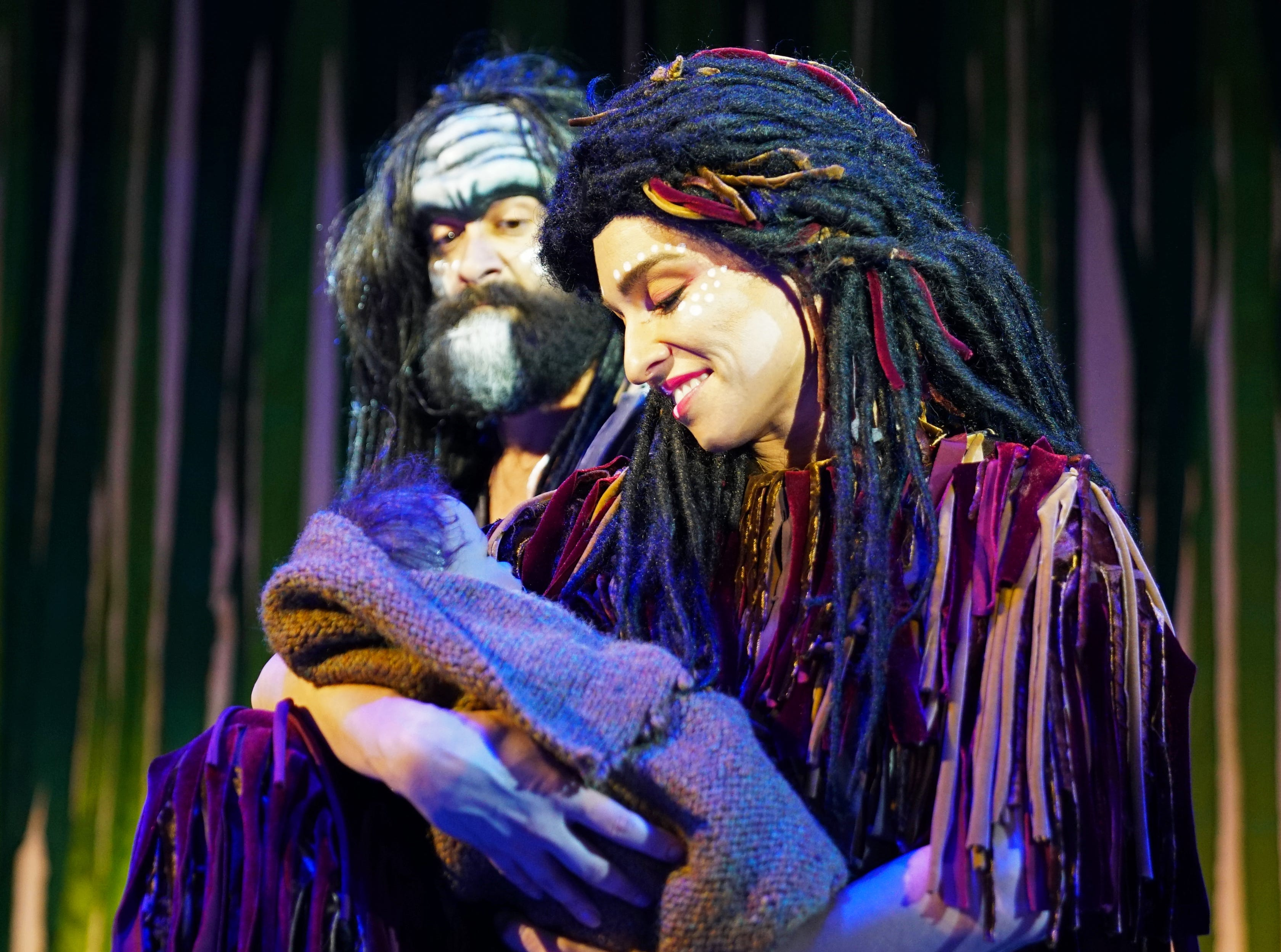 """Josh Doyle plays """"Kerchek"""" and Mahalia Gronigan plays """"Kala"""" in """"Tarzan,"""" the stage musical based on the Disney film on stage at the Henegar Center in Melbourne through March 24th. For tickets or more information, visit henegar.org"""