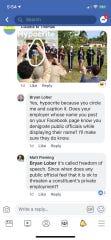 Screenshots show a Facebook exchange between Brevard County Commissioner Bryan Lober and his Democratic critics.