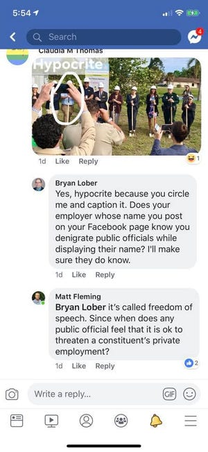 Screenshots show a Facebook exchange between Brevard County Commissioner Bryan Lober and his Democratic critics.