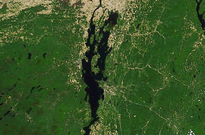 Lake Champlain, photographed by a NASA satellite on June 11,  2018.