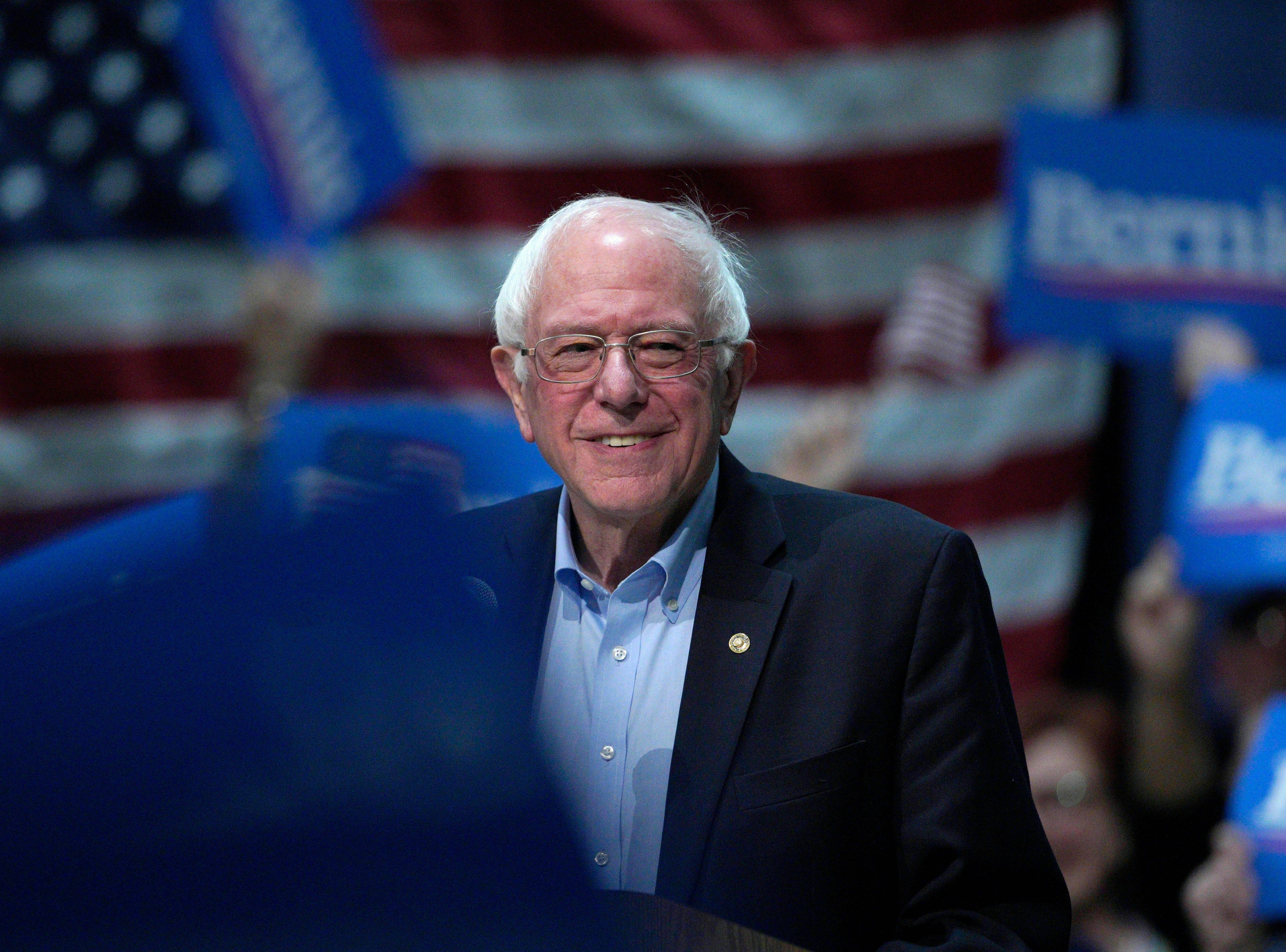 Sen. Bernie Sanders, I-Vt, speaks at a rally in Council Bluffs, Iowa, Thursday, March 7, 2019.