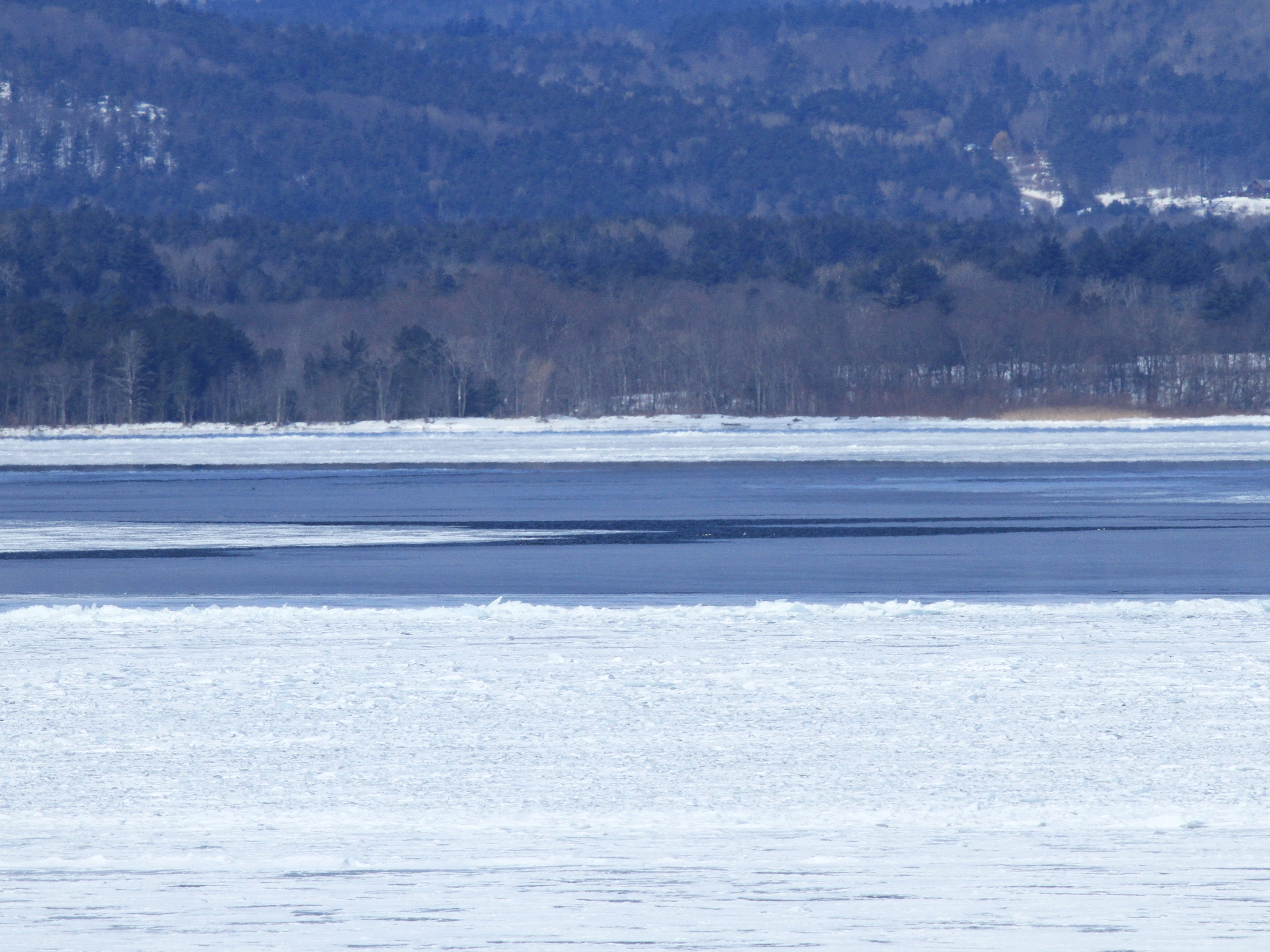 A view of Lake Champlain ice — snow-covered, ice-bound and thinning — viewed from Charlotte on March 6, 2019.