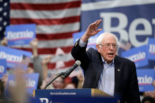 Sen. Bernie Sanders, I-Vt, waves to supporters at the conclusion of a rally in Council Bluffs, Iowa, Thursday, March 7, 2019.