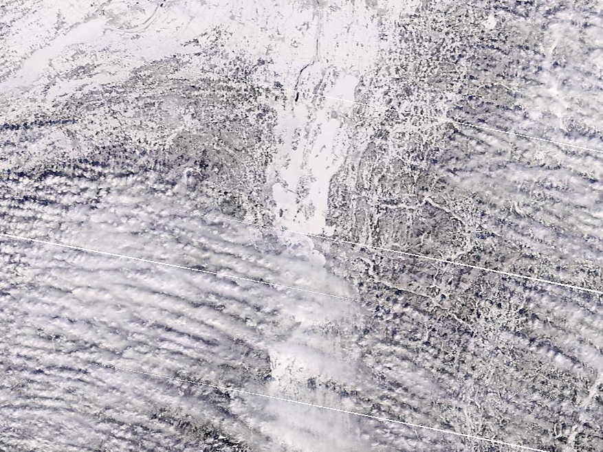 Lake Champlain, its southern end obscured by clouds, is seen in this NASA satellite photo on March 6, 2019.