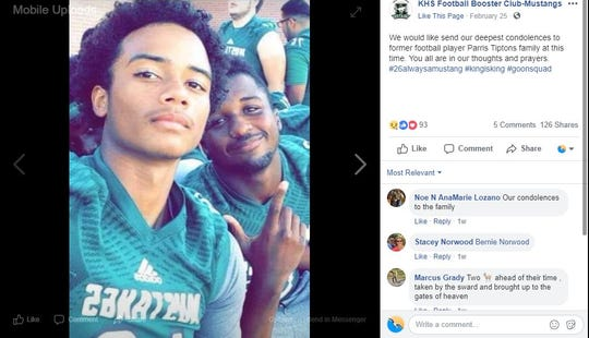 The King High School Football Booster Club posted a photo of Parris Tipton, right, and another football player. Tipton, 20, was fatally shot on Feb. 24, 2019, near Glen Arbor Park in Corpus Christi.