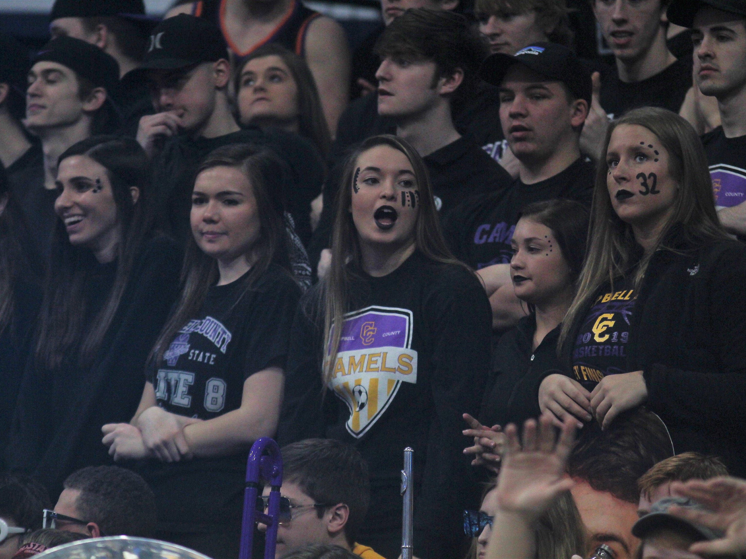 Campbell County students get fired up as Campbell County defeated Walton-Verona 49-42 in the state quarterfinals of the Whitaker Bank/KHSAA Boys Basketball Sweet 16 March 8, 2019, at Rupp Arena.