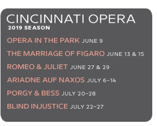 Cincinnati Opera's 2019 season.