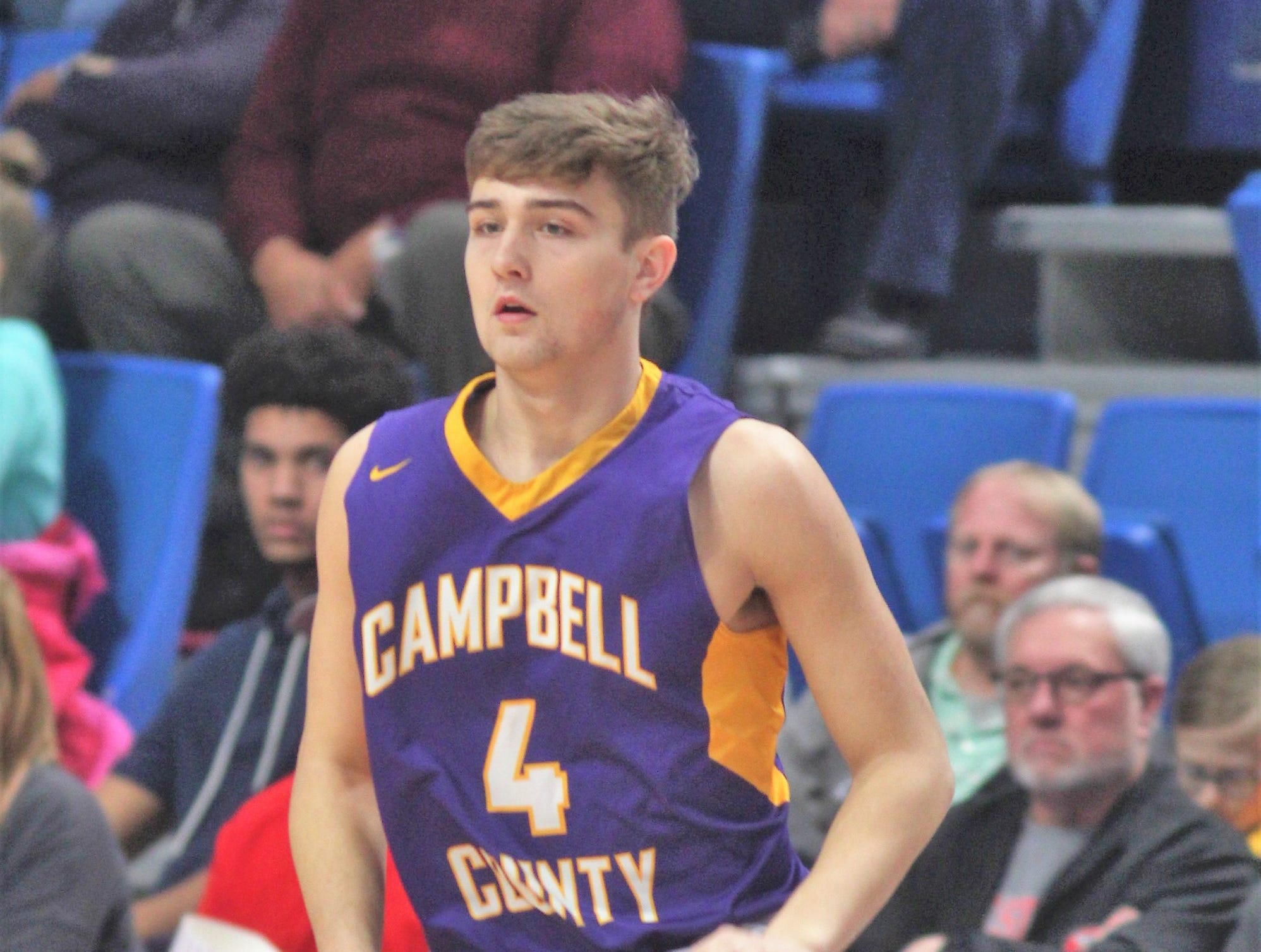 Campbell County senior Drew Wilson looks for an opening as Campbell County defeated Walton-Verona 49-42 in the state quarterfinals of the Whitaker Bank/KHSAA Boys Basketball Sweet 16 March 8, 2019, at Rupp Arena.