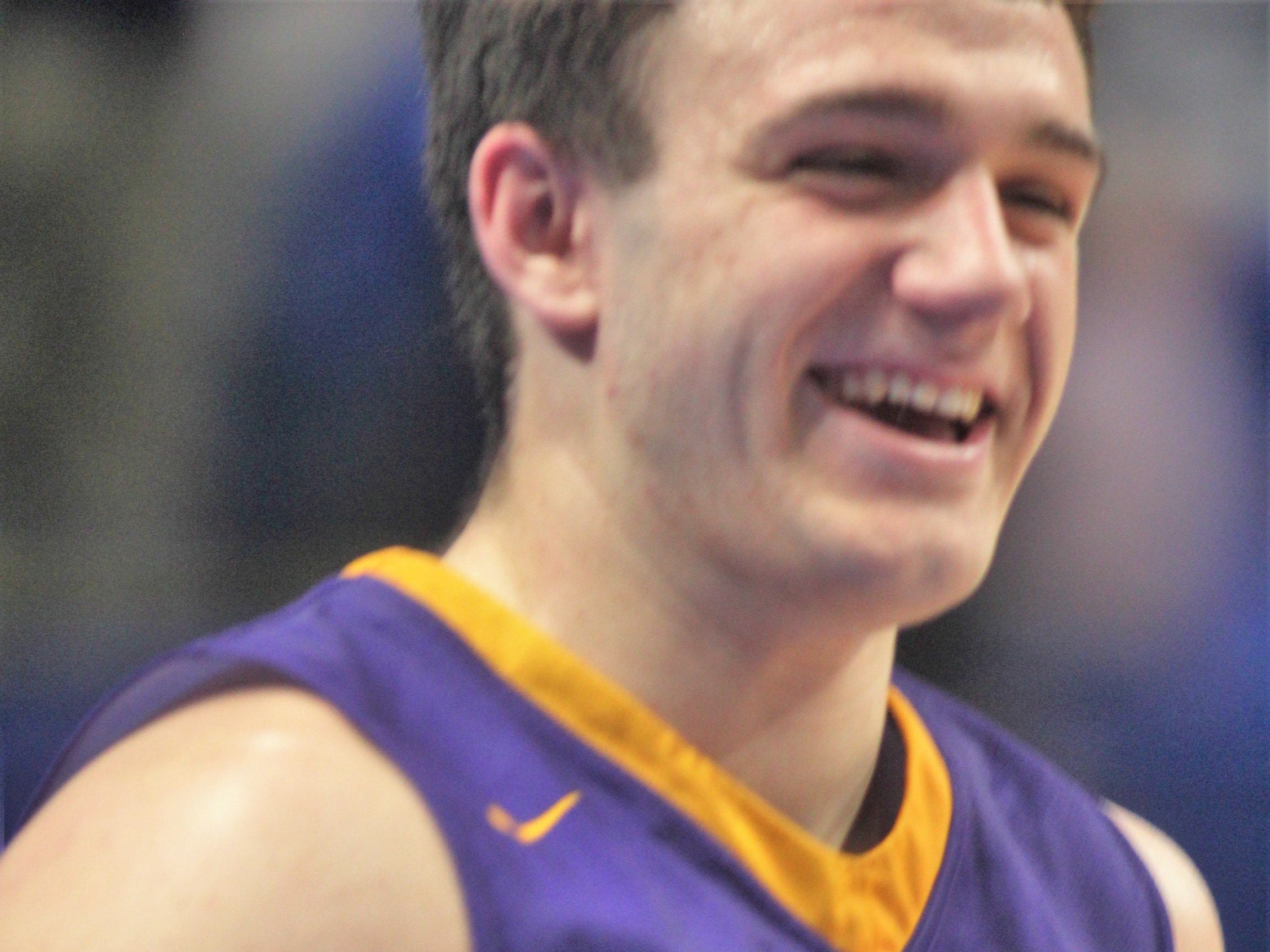 Campbell County senior Tanner Lawrence is all smiles after the win, as Campbell County defeated Walton-Verona 49-42 in the state quarterfinals of the Whitaker Bank/KHSAA Boys Basketball Sweet 16 March 8, 2019, at Rupp Arena.