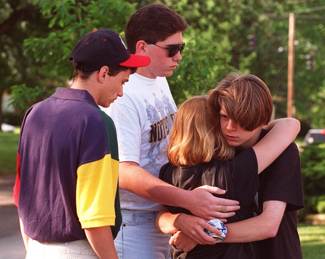 """Some friends of Clay Shrout supported him after he was arrested. They embraced outside the Boone County Courthouse the day he was arraigned. 15-year-old Danielle Butsch, who police initially said was abducted by Shrout, yelled """"I love you"""" as he walked by."""