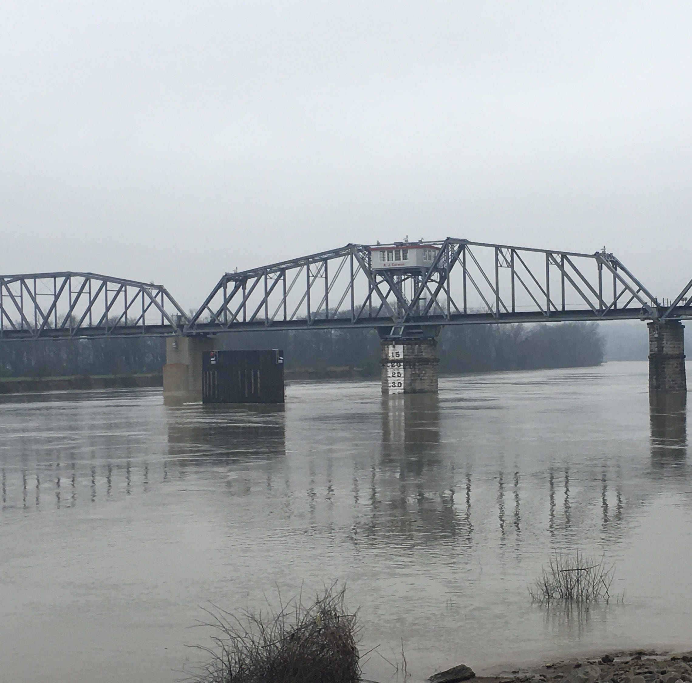 Clarksville Riverwalk, Liberty Park under flooded Cumberland River for extended period