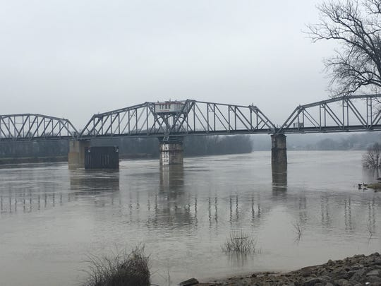 The rain-swollen Cumberland River at Clarksville.