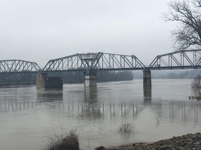 The rain-swollen Cumberland River at Clarksville.