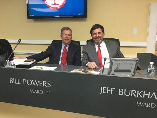 Clarksville City Council members Bill Powers, left, and Jeff Burkhart were at the council meeting Thursday night as returns started coming in for the state Senate Republican primary, in which they were the two leading candidates.