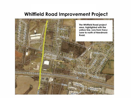 The area of Whitfield Road planned for widening, as of March 8, 2019.