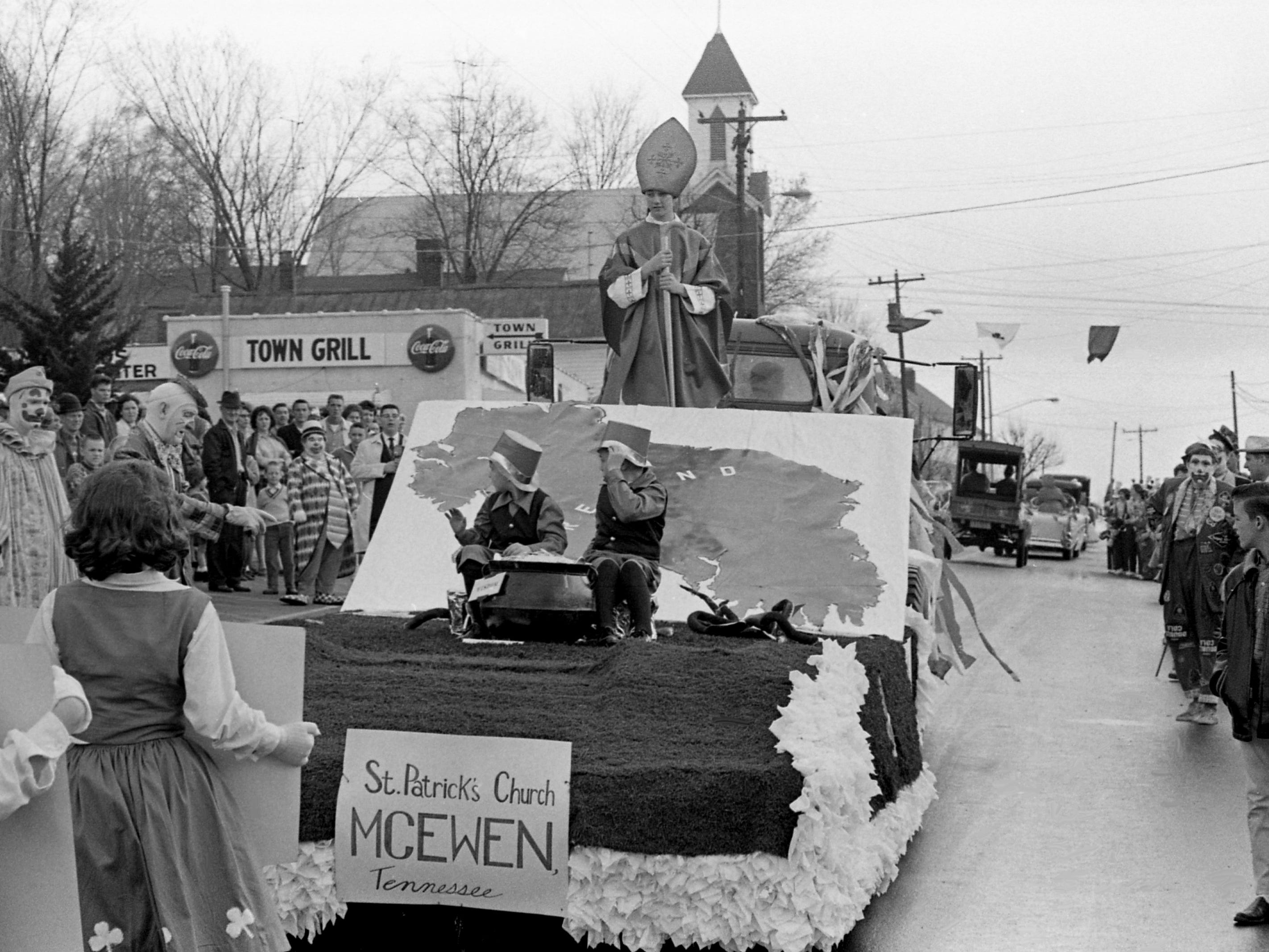 Another of the floats participating in the parade of the second annual Wearing of the Green celebration in Erin, Tenn. March 14, 1964. The population of Erin is 958.
