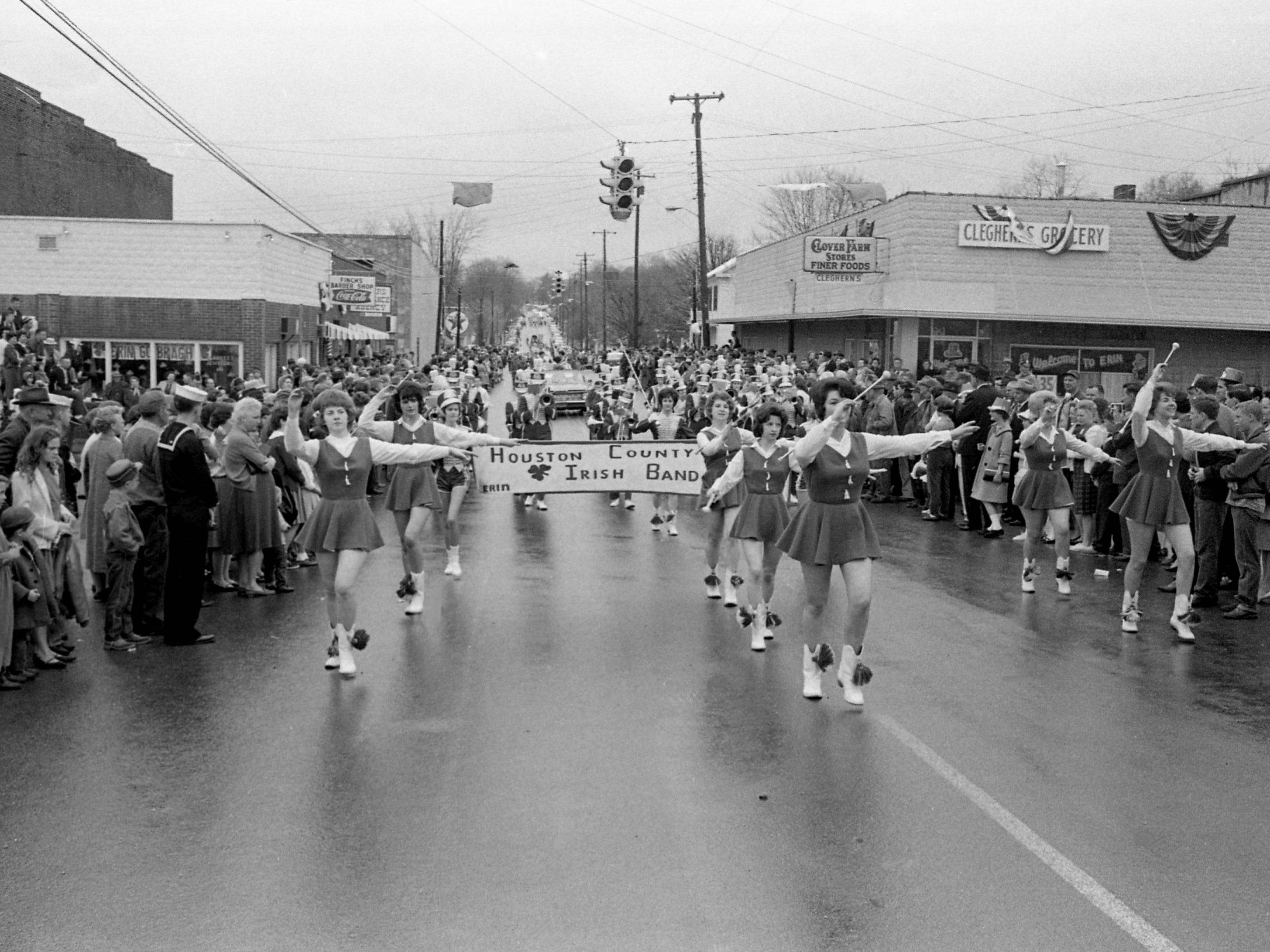 Houston County High School Irish Band marches during the parade of the second annual Wearing of the Green celebration in Erin, Tenn. March 14, 1964. The festivities got a three day start on St. Patrick's Day.
