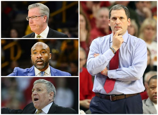 It doesn't matter who's coaching Iowa or Iowa State right now. Whether it's (top to bottom on left side) Fran McCaffery, Andrew Francis or Kirk Speraw for the Hawkeyes, or Steve Prohm for the Cyclones, late-season wins are hard to come by.