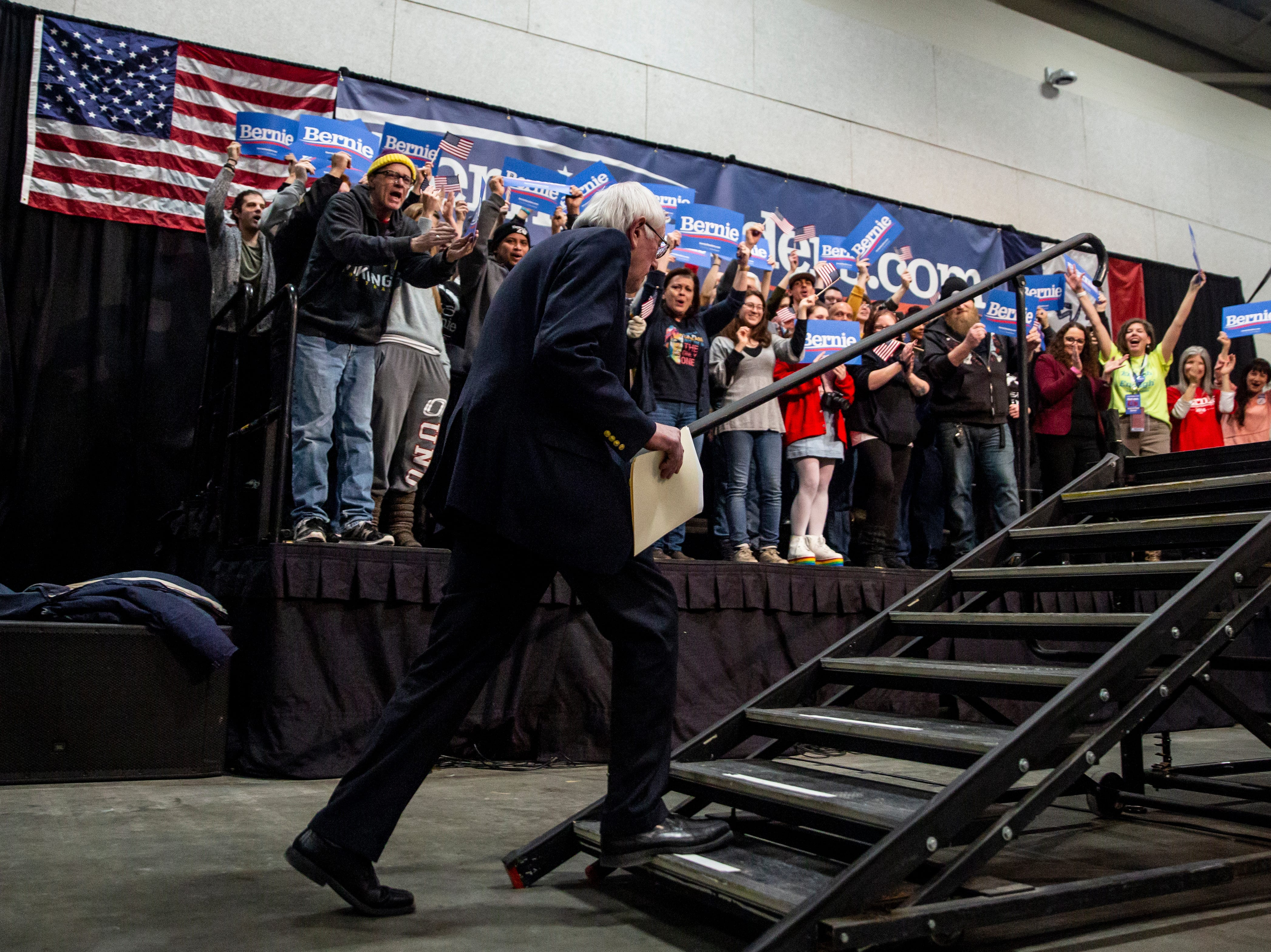 Sen. Bernie Sanders, I-VT, takes the stage during his first rally in Iowa after announcing he'll run for president for the second time, on Thursday, March 7, 2019, in Council Bluffs.