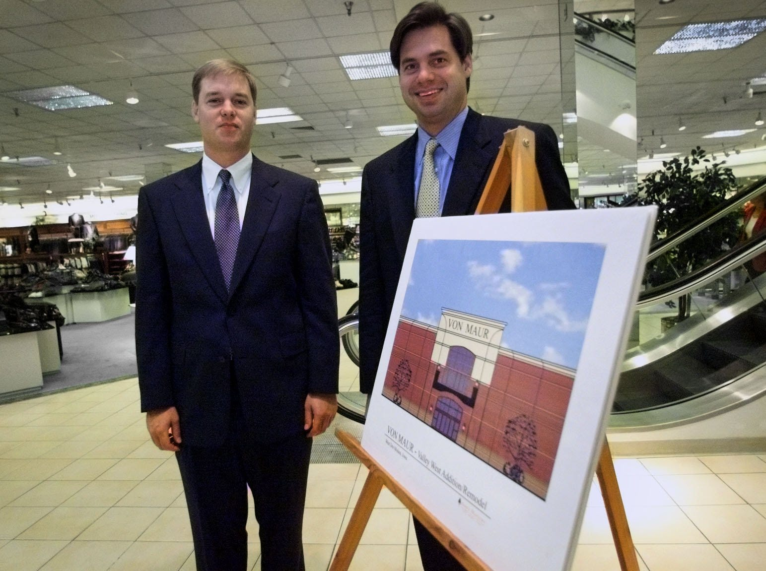 Von Maur President Ric von Maur, right, and Executive Vice President Jim von Maur announced Tuesday that the company plans a 60,000-square-foot expansion at the company's Valley West Mall store on Aug. 29, 2001.