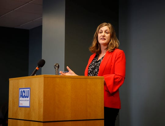 Rita Bettis Austen, legal director of the ACLU of Iowa, speaks about the court ruling that struck down the Iowa Department of Human Services categorical ban on gender-affirming transgender care on Friday, March 8, 2019, in Des Moines.
