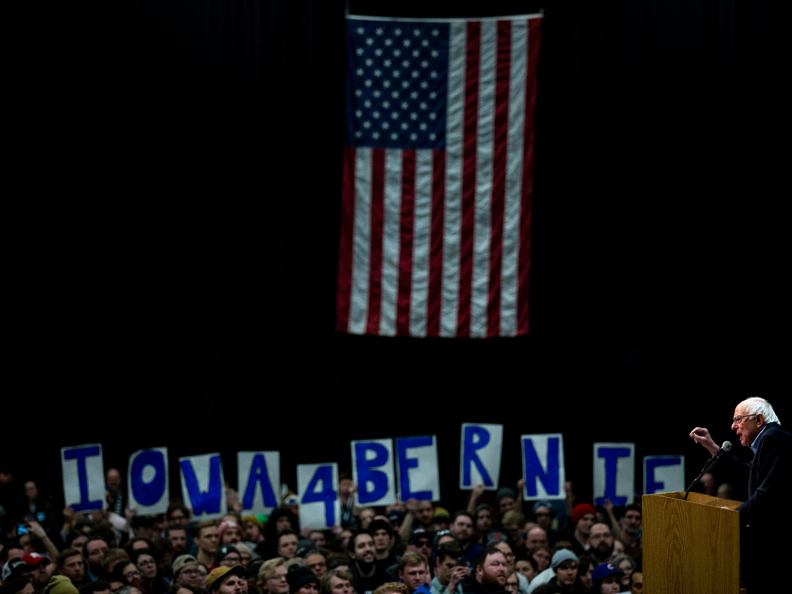Sen. Bernie Sanders, I-VT, speaks to a crowd of people gathered in the Mid-America Center on his first trip to Iowa after announcing he'll run for president for the second time on Thursday, March 7, 2019, in Council Bluffs.