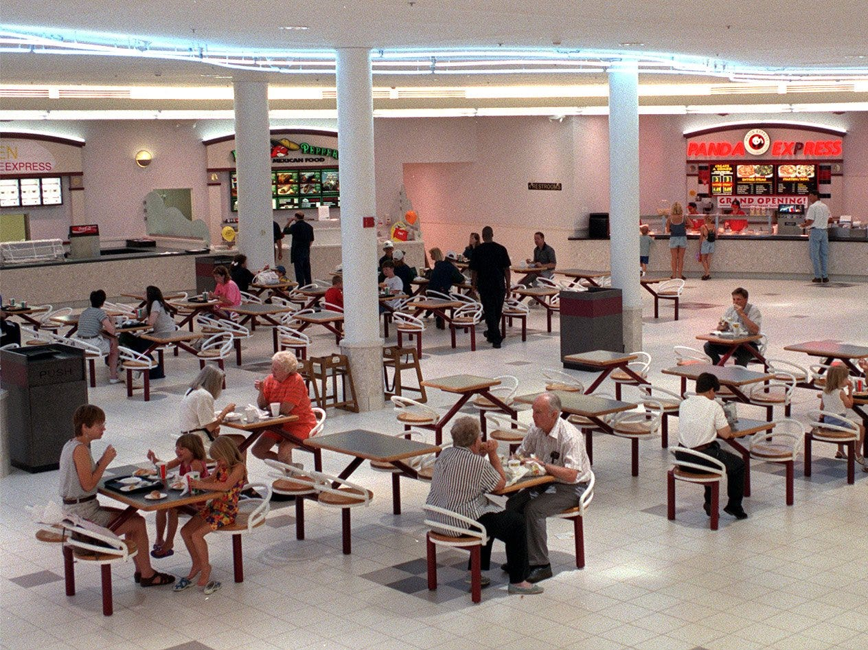 The new food court at Valley West Mall will feature nine food bays, seating for more than 400 and an updated look. A grand opening is planned for Aug. 13-16, but some vendors in the food court are open for business on July 9, 1998.
