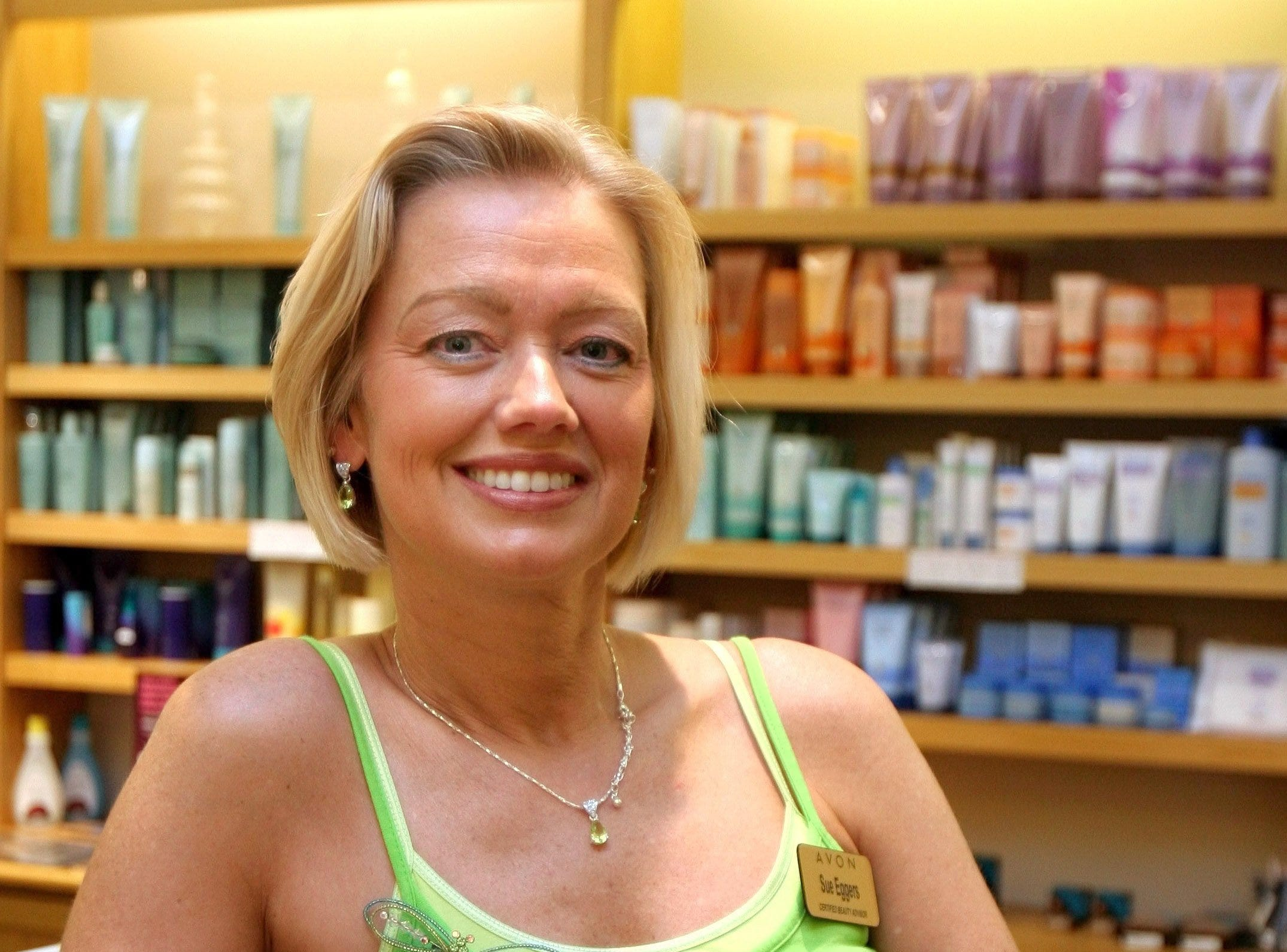 Sue Eggers, shown here in her Avon store at Valley West Mall, also operates a store at Jordan Creek Town Center. Eggers said she opened the stores for people who don't have an Avon representative or for someone who needs something quick on June 2, 2006.