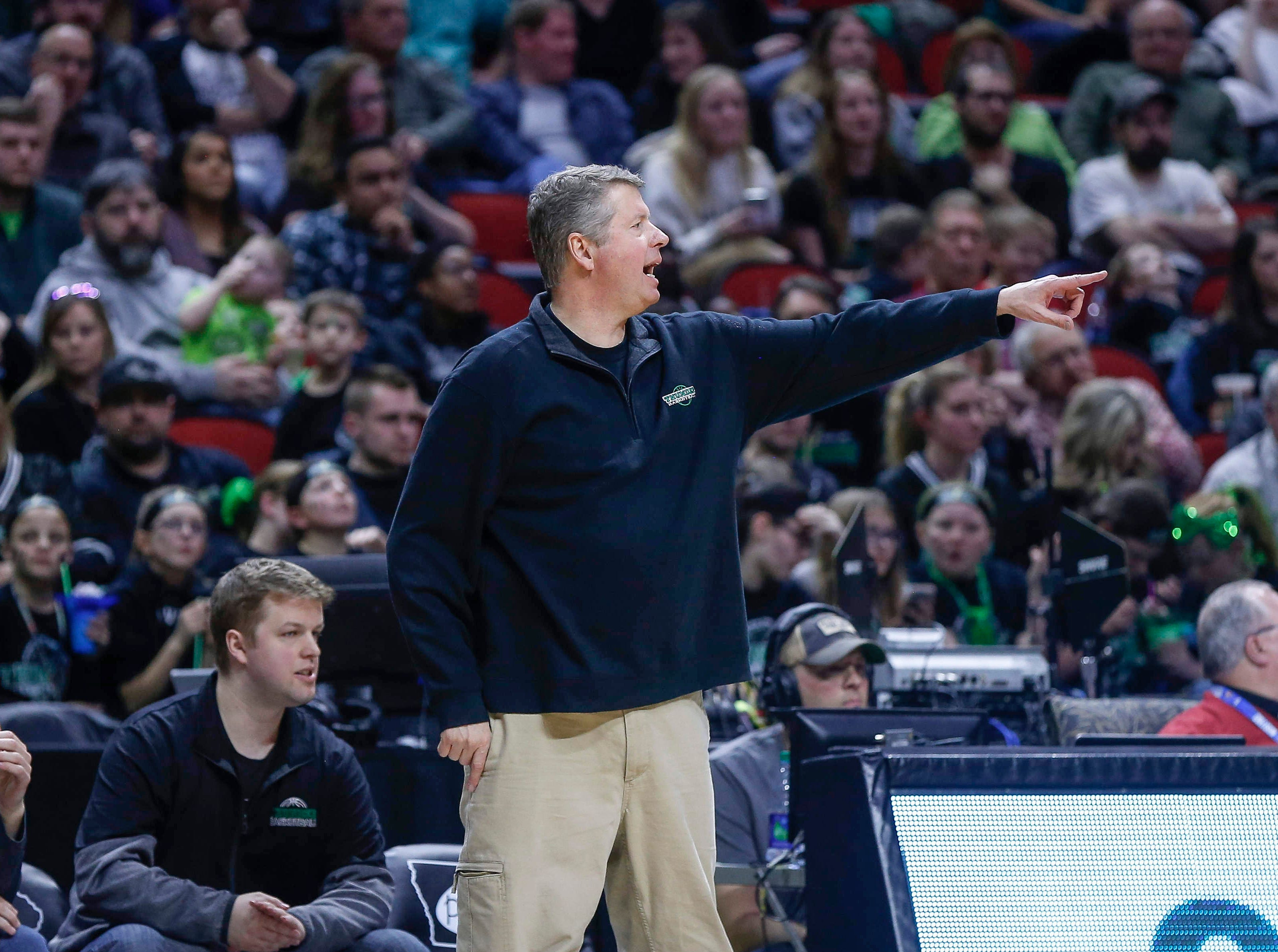 Grand View Christian head boys basketball coach David Stubbs motions to a player during the Class 1A boys state basketball championship game against Alburnett on Friday, March 8, 2019, at Wells Fargo Arena in Des Moines.
