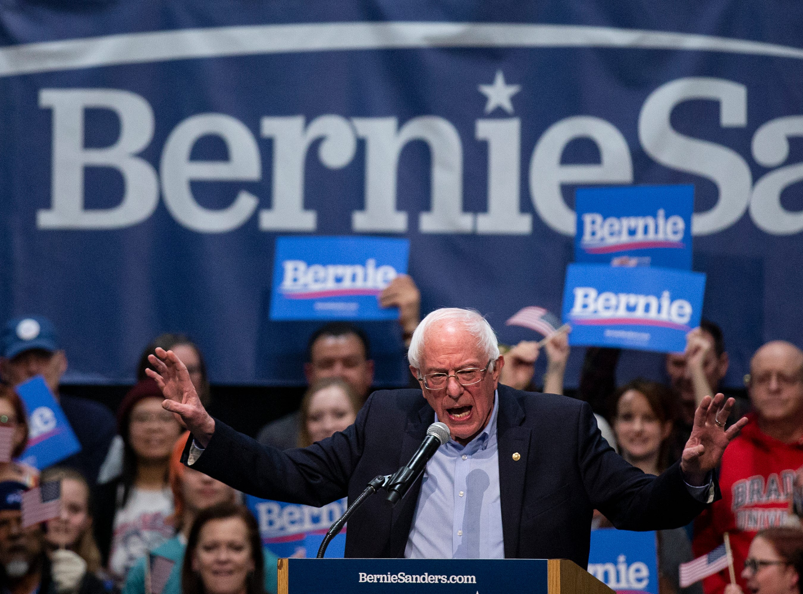 Sen. Bernie Sanders, I-VT, speaks to a crowd of people gathered in the Mid-America Center on his first trip to Iowa after announcing he'll run for president for the second time, on Thursday, March 7, 2019, in Council Bluffs.