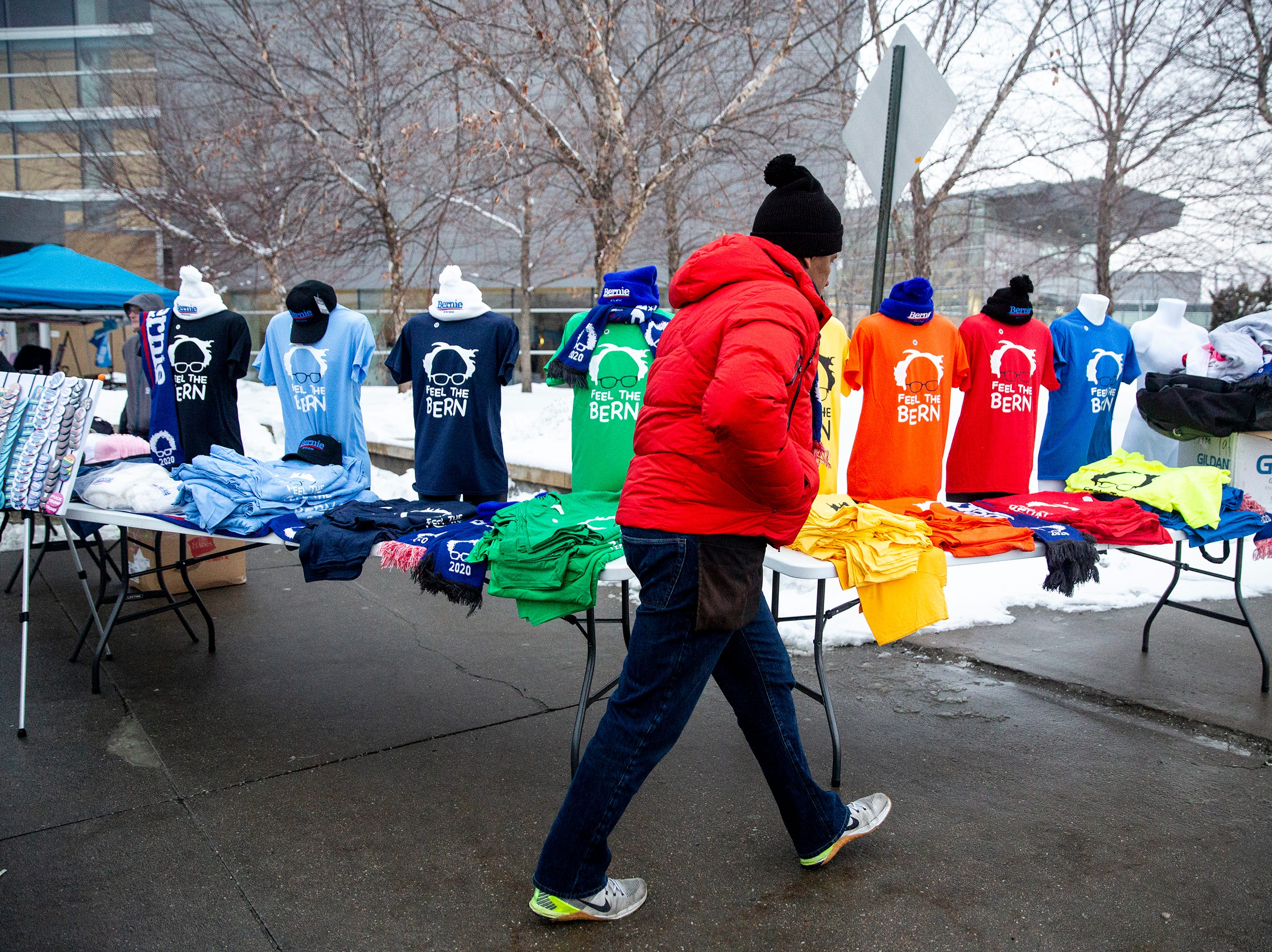 A plethora of merchandise supporting Sen. Bernie Sanders, I-VT, is sold outside of the Mid-America Center where Sanders is speaking in Iowa for the first time after announcing he'll run for president for the second time on Thursday, March 7, 2019, in Council Bluffs.