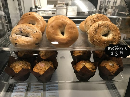 Healthy bagels and muffins are available at Fuel'd Cafe in downtown Des Moines.