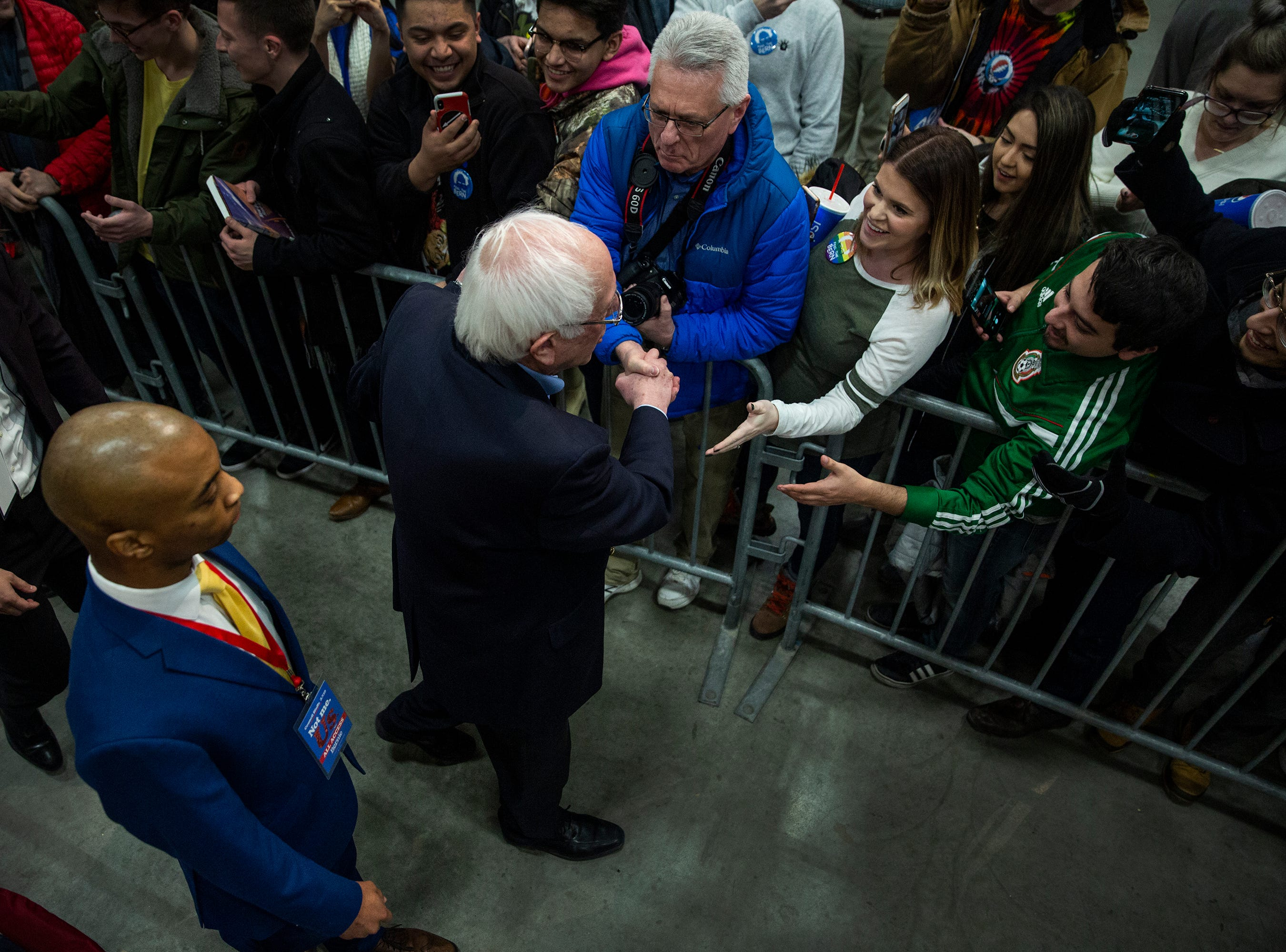 Sen. Bernie Sanders, I-VT, shakes hands with people in the crowd at the end of his first rally in Iowa after announcing he'll run for president for the second time, on Thursday, March 7, 2019, in Council Bluffs.