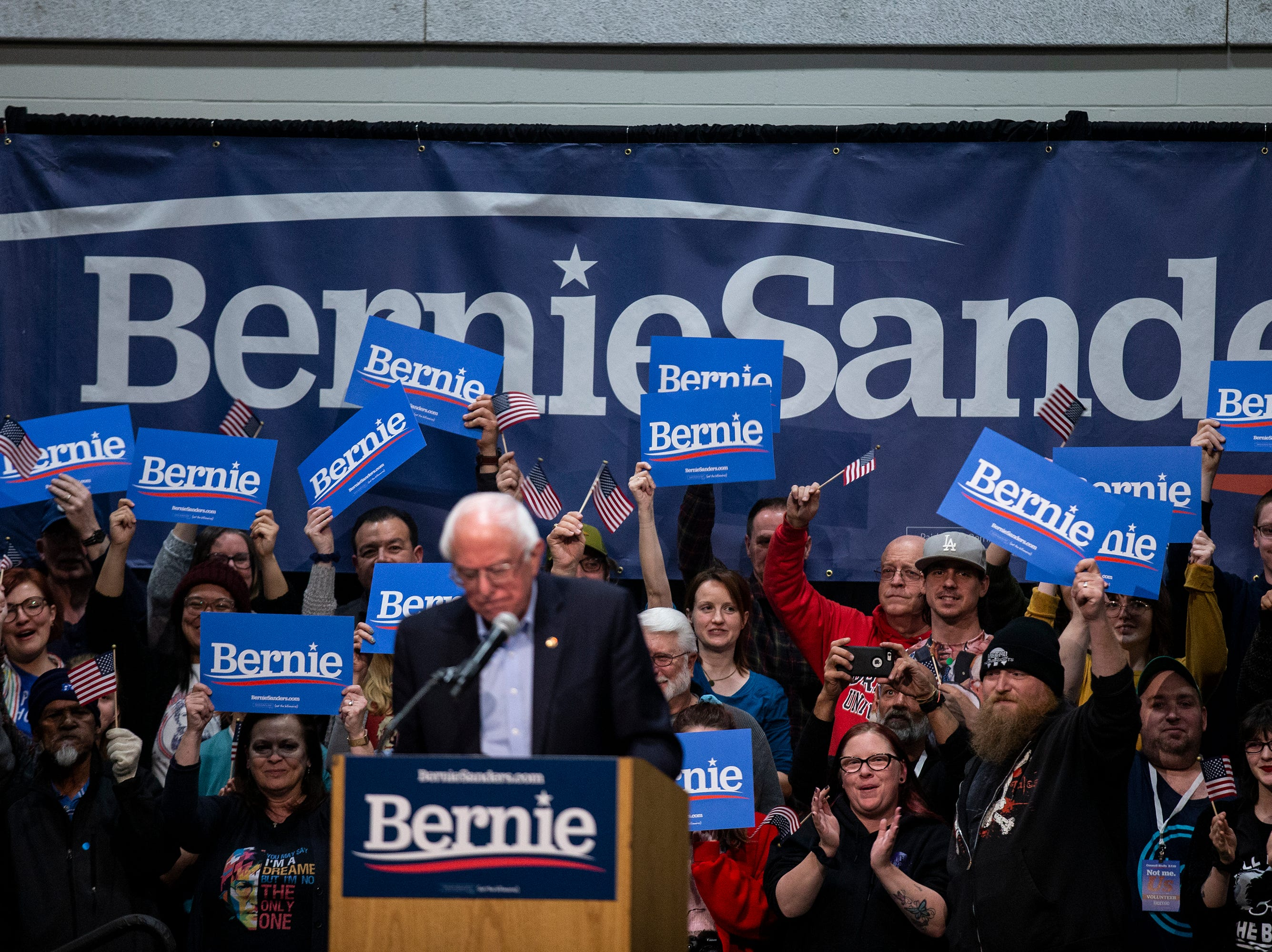 The crowd cheers for Sen. Bernie Sanders, I-VT, during his first rally in Iowa after announcing he'll run for president for the second time, on Thursday, March 7, 2019, in Council Bluffs.