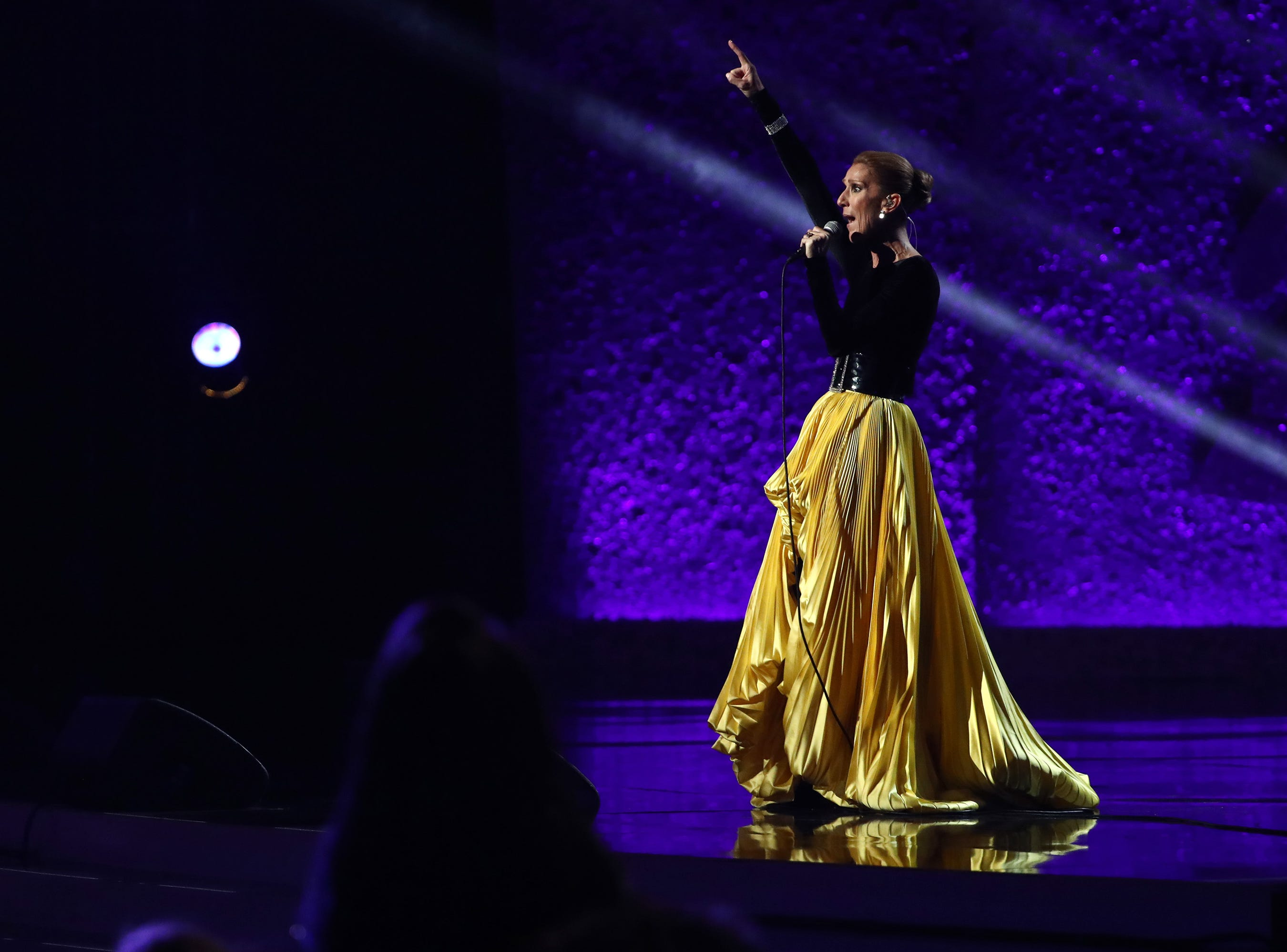 """LOS ANGELES, CA - JANUARY 13:  Celine Dion performs at """"Aretha! A Grammy Celebration For the Queen Of Soul"""" at the Shrine Auditorium on Jan. 13, 2019, in Los Angeles, Calif."""