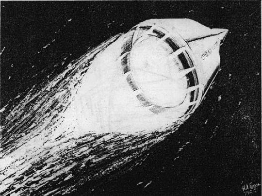 The proposed Chrysler SERV spacecraft in launch mode