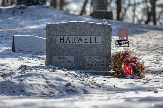 Lulu Harwell, the beloved widow of legendary Detroit Tigers play-by-play voice Ernie Harwell, died on Friday at the Fox Run Village senior development in Novi. She was 99. She is buried next to Ernie at the family plot at Oakwood Cemetery in Farmington, Mich., the next day. Photographed on Wednesday, March 6, 2019.